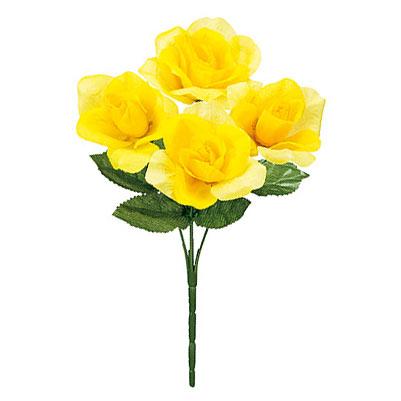造花 黄バラ ブッシュ 通販 販売